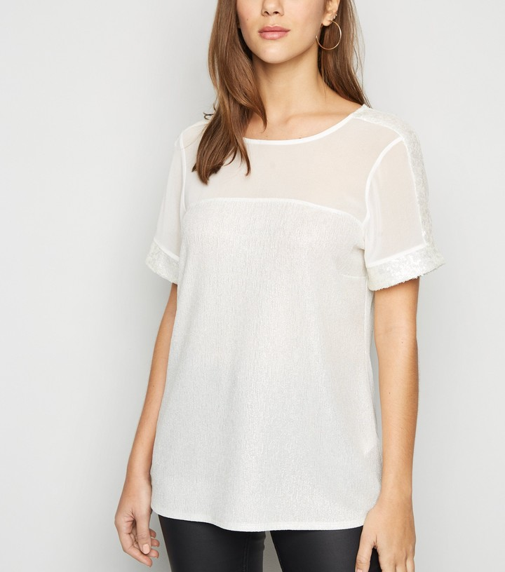 Thumbnail for your product : New Look Chiffon Sequin Trim Top