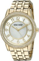 Nine West Women's NW/1744WMGB Easy To Read Swarovski Crystal Accented -Tone Bracelet Watch