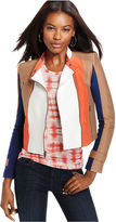 BCBGMAXAZRIA Jacket, Long-Sleeve Colorblocked Motorcycle