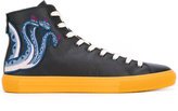 Gucci printed hi-tops - men - Cotton/Calf Leather/Leather/rubber - 5