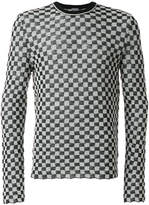 Lanvin checked crew neck jumper