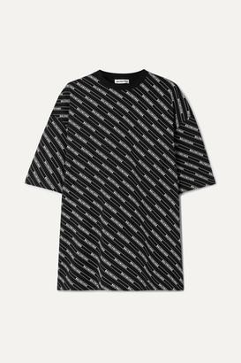 Balenciaga Oversized Printed Cotton-jersey T-shirt - Black