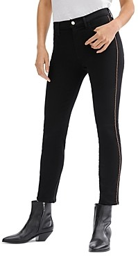 7 For All Mankind Chain Detail Skinny Ankle Jeans in Silblack