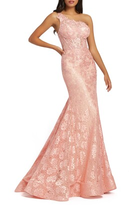 Mac Duggal One-Shoulder Lace Mermaid Gown