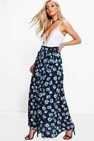 boohoo Brea Dark Floral Chiffon Wrap Maxi Skirt black