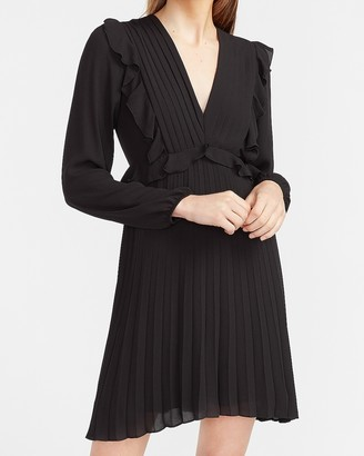 Express Pleated Ruffle Long Sleeve Dress