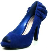 Qupid Women's Nadine-16 Royal High Heel Peep Toe Pump Shoes