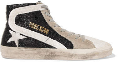 Golden Goose Slide Glittered Distressed Suede High-top Sneakers