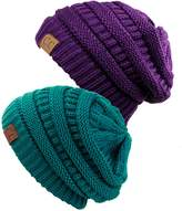 NYFASHION101 Unisex Warm Chunky Soft Stretch Cable Knit Slouchy Beanie Skully- Teal/Dp Pu
