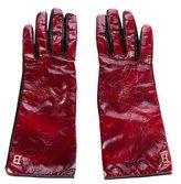 Blumarine Embellished Leather-Trimmed Gloves