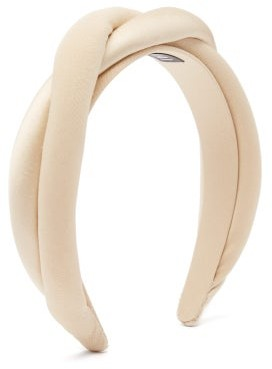 Sophie Buhai Twisted Satin And Silk-crepe Padded Headband - Beige