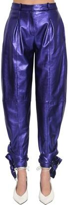 ATTICO Leather Lame Pants W/Ankle Bows