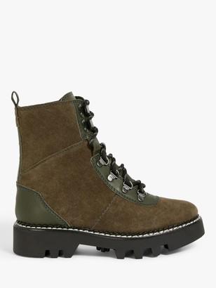 KIN Patriot Leather Biker Boots, Khaki