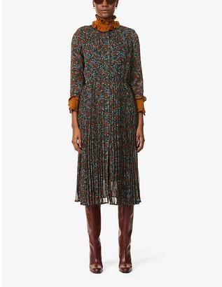 Sessun Painterly floral-print chiffon midi dress