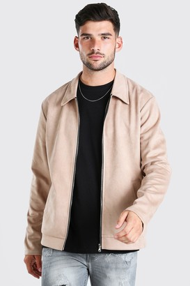 boohoo Mens Beige Faux Suede Unlined Harrington Jacket, Beige