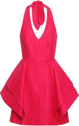 Halston Layered Cotton And Silk-blend Halterneck Mini Dress