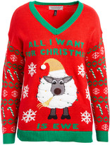 Derek Heart Women's Pullover Sweaters RED - Red 'All I Want For Christmas is Ewe' Light-Up V-Neck Sweater - Juniors