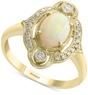 Effy Opal (5/8 ct. t.w.) & Diamond (1/8 ct. t.w.) Halo Ring in 14k Gold