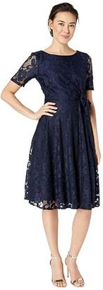 Tahari ASL Petite Elbow Sleeve Stretch Lace Dress w/ Side Shirring (Navy) Women's Dress