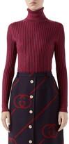 Gucci Metallic Rib Silk Blend Turtleneck Sweater