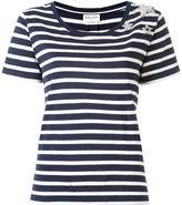 Saint Laurent star embellished striped T-shirt - women - Cotton/Polyester/glass - L
