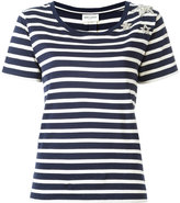 Saint Laurent star embellished striped T-shirt - women - Cotton/Polyester/glass - S