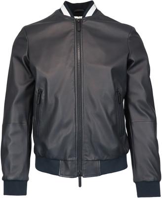 Emporio Armani Logo Leather Jacket