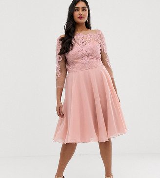 Chi Chi London Plus premium lace midi dress with chiffon skirt in pink