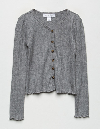 WHITE FAWN Ribbed Button Front Gray Girls Cardigan