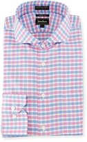 Neiman Marcus Trim-Fit Non-Iron Check Dress Shirt, Pink/Blue