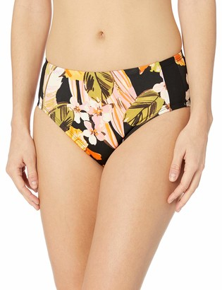 Robin Piccone Women's Mila high Waist Bikini Bottom with Contrast Side Panels