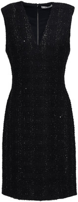 Alice + Olivia Adelaide Sequin-embellished Metallic Tweed Dress