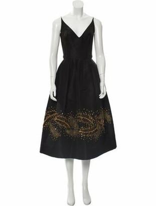 Oscar de la Renta Embellished Cocktail Dress Black
