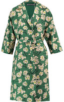 Rochas Belted Floral-Print Cotton Coat