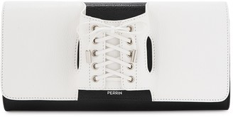 Perrin Paris Le Corset black and white leather clutch