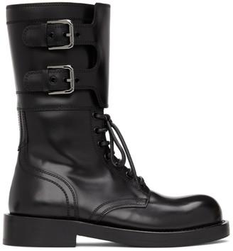 Dolce & Gabbana Black Patent Combat Boots