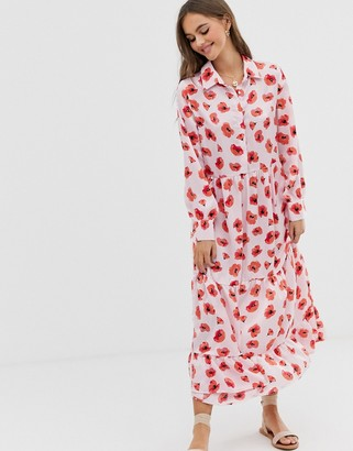 Glamorous midaxi smock dress in poppy print-Pink