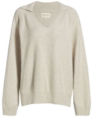 LOULOU STUDIO Sperone Fox Fur & Wool-Blend V-Neck Polo Sweater