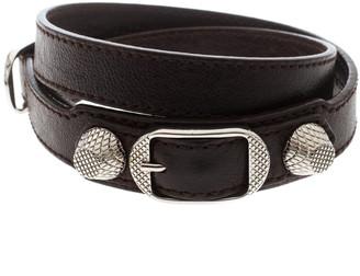 Balenciaga Arena Brown Leather Silver Tone Wrap Bracelet