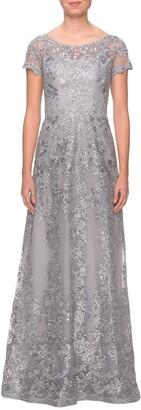 La Femme Shimmer Lace Gown