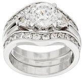 Diamonique 100-Facet 2 Piece Bridal Ring Set, Platinum Clad