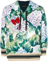 Dolce & Gabbana hydrangea printed hoodie - women - Cotton - 40