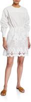 See by Chloe Crewneck Poplin Dress w/ Lace Inset