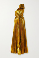 Tre By Natalie Ratabesi TRE by Natalie Ratabesi - Bow-embellished One-shoulder Plisse-lame Gown - Gold
