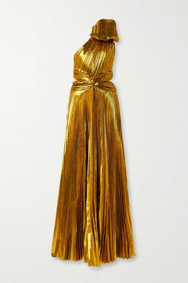 TRE by Natalie Ratabesi Bow-embellished One-shoulder Plisse-lame Gown - Gold