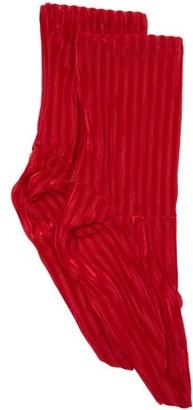 Darner Socks - Ribbed-velvet Ankle Socks - Womens - Red