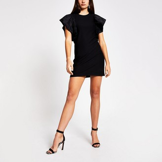River Island Black frill short sleeve mini dress