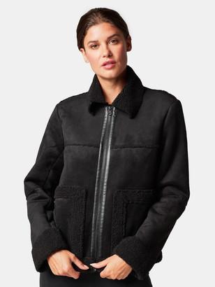 Blanc Noir Sherpa Zip Up Moto Jacket