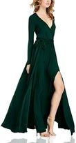 Dolamen Women's Dress, V Neck Vintage Style, Long Sleeves and Long Maxi Dress, A Line Swing Dress, Perfect for Party and Wedding
