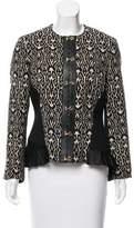 Etro Leather-Trim Jacquard Jacket